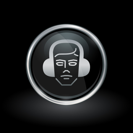 chrome man: Construction worker symbol with builder icon inside round chrome silver button emblem on black background. Vector illustration.