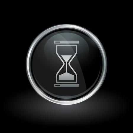 Time symbol with hourglass icon inside round chrome silver and black button emblem on black background. Vector illustration. Ilustração