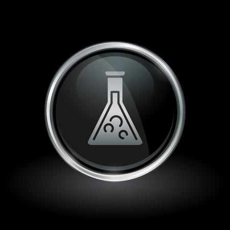 Science lab-symbool met glas chemie beker pictogram binnen ronde chrome zilveren knop embleem op zwarte achtergrond. Vector illustratie.