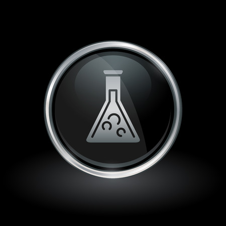 Science lab symbol with glass chemistry beaker icon inside round chrome silver button emblem on black background. Vector illustration.
