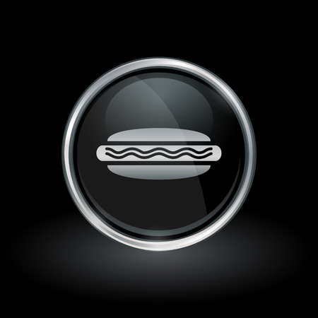 frank: Fast food symbol with hotdog icon inside round chrome silver button emblem on black background. Vector illustration.