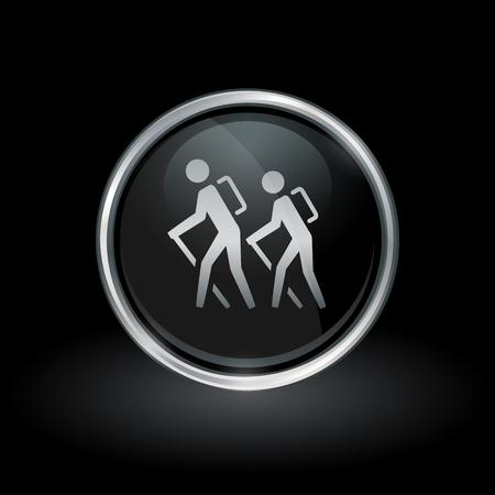 Het symbool van de wandelingssleep met mensen die pictogram binnen het embleem van de chroom zilveren en zwarte knoop op zwarte achtergrond wandelen. Vector illustratie.