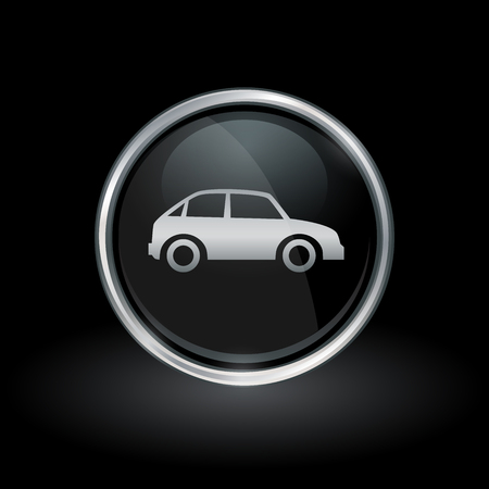 motor vehicle: Vehicle symbol with motor car icon inside round chrome silver and black button emblem on black background. Vector illustration.