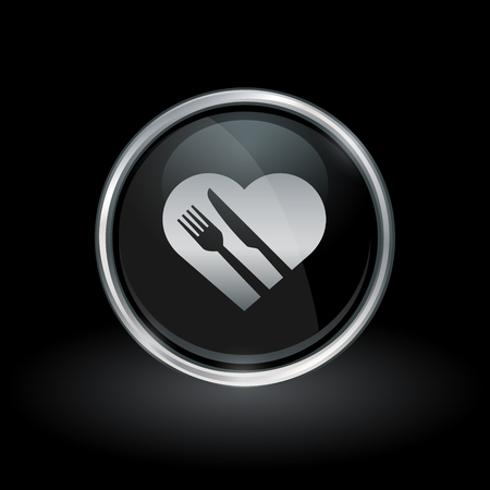 heart attack: Healthy diet symbol with heart knife and fork icon inside round chrome silver and black button emblem on black background. Vector illustration.