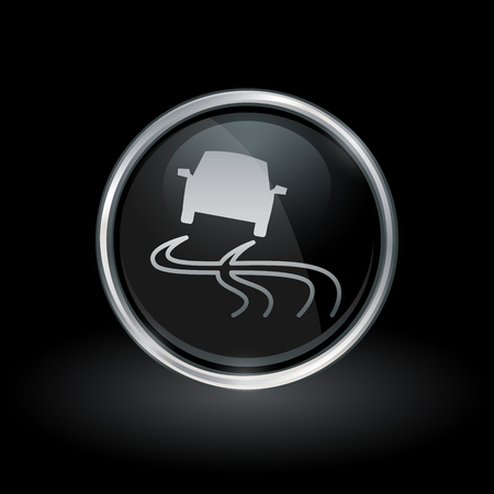 Road slippery when wet warning symbol with vehicle traction control icon inside round chrome silver and black button emblem on black background. Vector illustration.