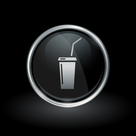 Soft drink symbol with soda icon inside round chrome silver and black button emblem on black background. Vector illustration.