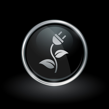 Concept green energy symbol with electrical power plug and plant leaf icon inside round chrome silver and black button emblem on black background. Vector illustration. Illusztráció