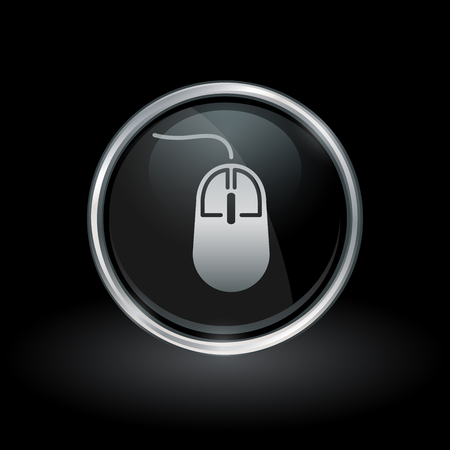 clicker: PC accessory symbol with computer mouse icon inside round chrome silver and black button emblem on black background. Vector illustration.