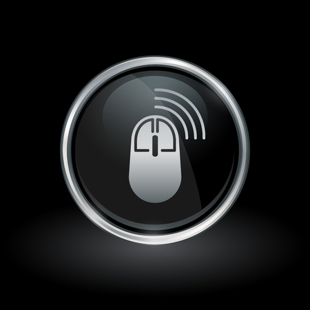 clicker: Wireless PC accessory symbol with computer mouse icon inside round chrome silver and black button emblem on black background. Vector illustration. Illustration