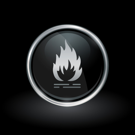 Flammable fire symbol with flame icon inside round chrome silver and black button emblem on black background. Vector illustration. Ilustração