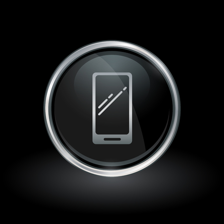 mobile cellular: Mobile smartphone symbol with cellphone icon inside round chrome silver and black button emblem on black background. Vector illustration.