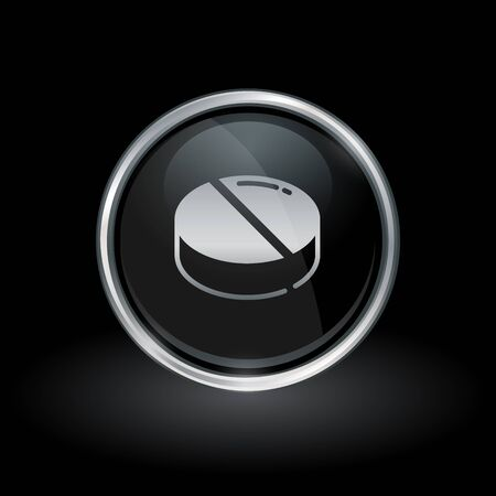Medication tablet symbol with pill icon inside round chrome silver and black button emblem on black background. Vector illustration. Иллюстрация