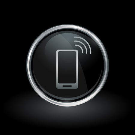 3g: Mobile smartphone symbol with wireless cellphone icon inside round chrome silver and black button emblem on black background. Vector illustration. Illustration