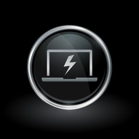 Notebook charge symbol with laptop bolt flash icon inside round chrome silver and black button emblem on black background. Vector illustration. Illusztráció