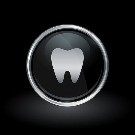 Dental symbol with tooth icon inside round chrome silver and black button emblem on black background. Vector illustration.
