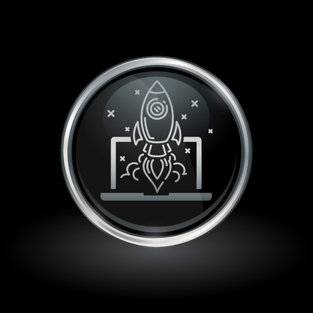 Website startup symbol with rocket launch from laptop icon inside round chrome silver and black button emblem on black background. Vector illustration.