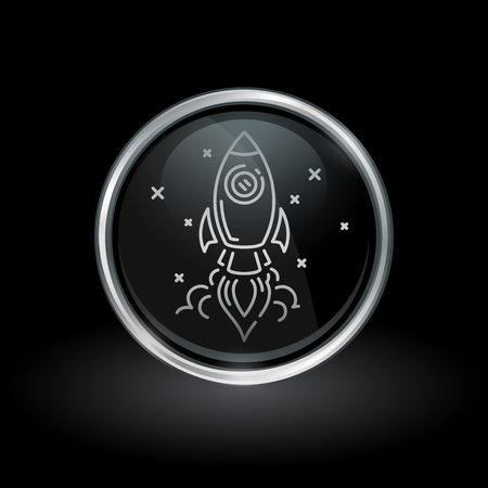 Spacecraft take-off symbol with rocket launch icon inside round chrome silver and black button emblem on black background. Vector illustration. Ilustração