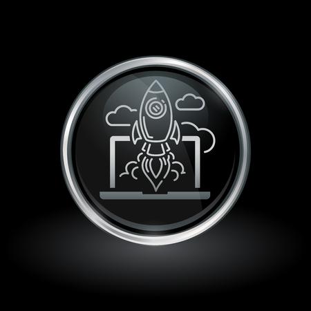 Symbole de démarrage de site Web avec lancement de fusée à partir d'icône d'ordinateur portable à l'intérieur de l'emblème du bouton argent chromé et noir sur fond noir Illustration vectorielle Banque d'images - 76153847