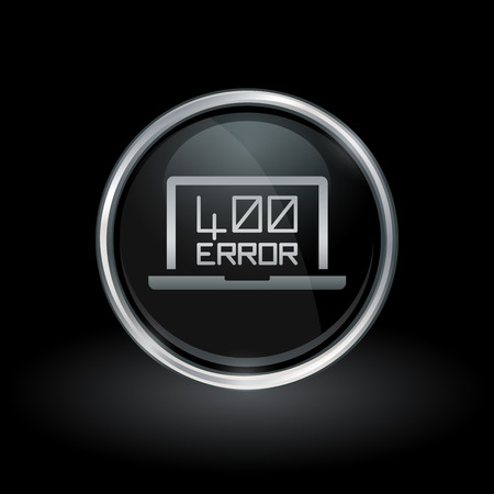 http: Laptop webpage error symbol with HTTP Error - 400 Bad request icon inside round chrome silver and black button emblem on black background. Vector illustration. Illustration