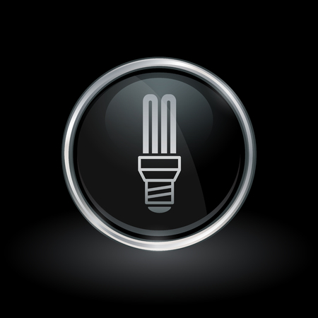Fluorescent light symbol with CFL lightbulb icon inside round chrome silver and black button emblem on black background. Vector illustration.