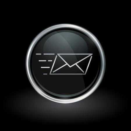 E-mail levering symbool met Speed Mail icoon binnen ronde chroom zilver en zwarte knop embleem op zwarte achtergrond. Vector illustratie. Stock Illustratie