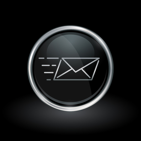 sender: Email delivery symbol with speed mail icon inside round chrome silver and black button emblem on black background. Vector illustration.