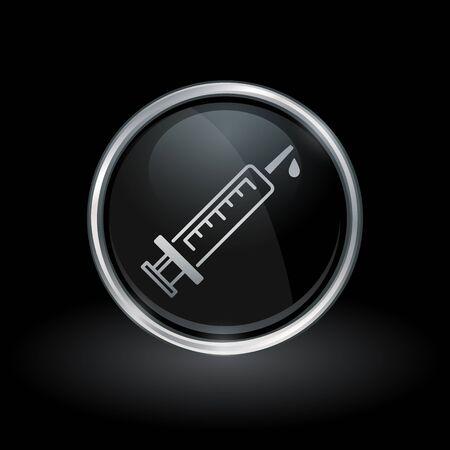 flu immunization: Flu virus vaccine symbol with medical syringe icon inside round chrome silver and black button emblem on black background vector illustration.