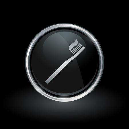 Il simbolo di igiene orale con l'icona del dentifricio in pasta e dello spazzolino dentro l'argento rotondo del cromo e l'emblema nero del bottone su fondo nero vector l'illustrazione. Archivio Fotografico - 75631859