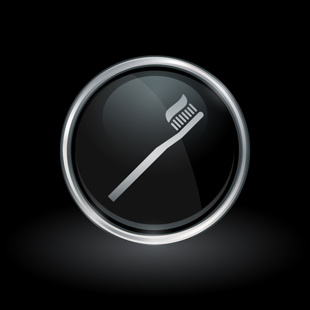 Oral hygiene symbol with toothbrush and toothpaste icon inside round chrome silver and black button emblem on black background vector illustration. Ilustração