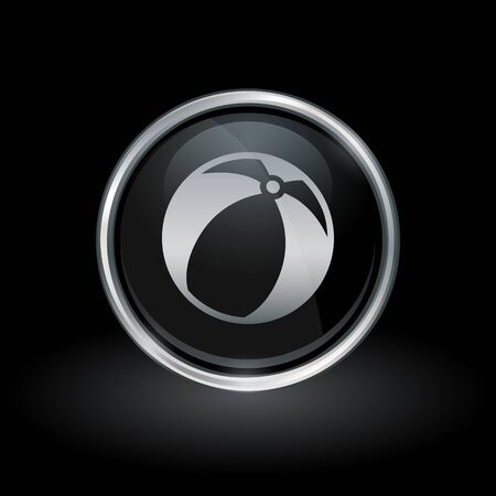 Plastic inflatable beach ball icon inside round chrome silver and black button emblem on black background vector illustration.