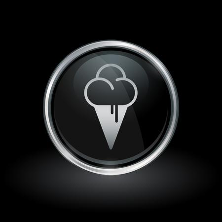sorbet: Soft serve symbol with ice cream dessert icon inside round chrome silver and black button emblem on black background vector illustration.
