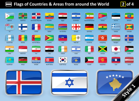 Detailed Flags of Countries and Areas from around the World - Country Flag SET 2 OF 4. STYLE 1 is glossy with a metallic curved frame. Flags are in alphabetical order with names. Vector illustration.