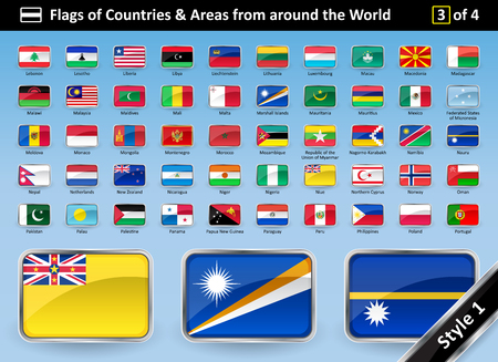 Detailed Flags of Countries and Areas from around the World - Country Flag SET 3 OF 4. STYLE 1 is glossy with a metallic curved frame. Flags are in alphabetical order with names. Vector illustration.