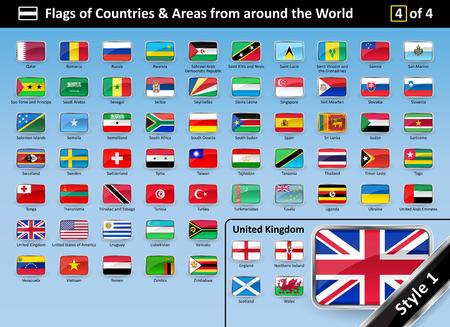国や世界中から地域のフラグの詳細な国旗は 4 の 4 を設定します。スタイル 1 は光沢のある金属の湾曲したフレームです。フラグは、名前のアルファベット順に。ベクトルの図。