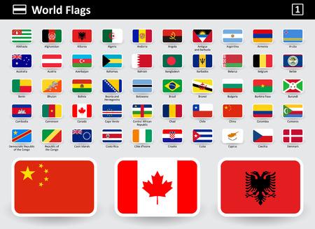 Icônes de drapeau du monde avec des noms dans l'ordre alphabétique - ensemble 1. Style plat. Illustration vectorielle.
