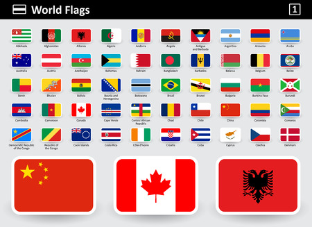 Vlag iconen van de wereld met namen in alfabetische volgorde - set 1. Platte stijl. Vector illustratie.