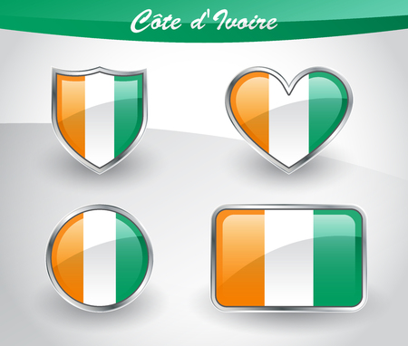 Glossy Cote dIvoire flag icon set with shield, heart, circle and rectangle shapes in silver frame. Vector illustration.