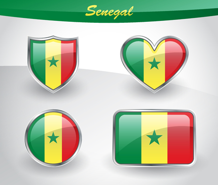 Glossy Senegal flag icon set with shield, heart, circle and rectangle shapes in silver frame. Vector illustration. Illustration