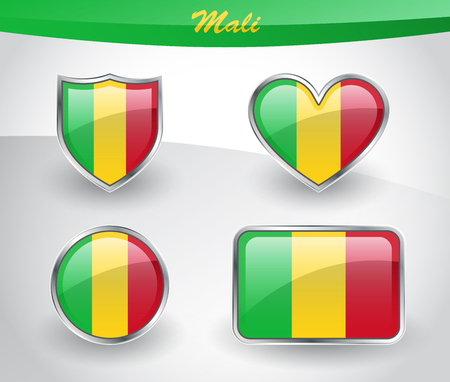 mali: Glossy Mali flag icon set with shield, heart, circle and rectangle shapes in silver frame.