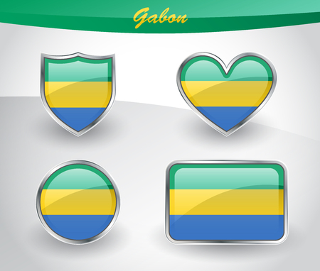 Glossy Gabon flag icon set with shield, heart, circle and rectangle shapes in silver frame. Vector illustration.