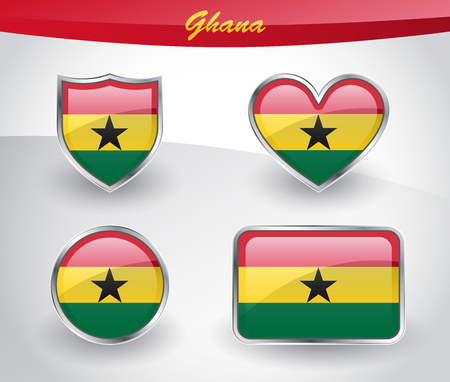 Glossy Ghana flag icon set with shield, heart, circle and rectangle shapes in silver frame. Vector illustration. Illustration