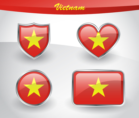 Glossy Vietnam flag icon set with shield, heart, circle and rectangle shapes in silver frame. Vector illustration. Illustration