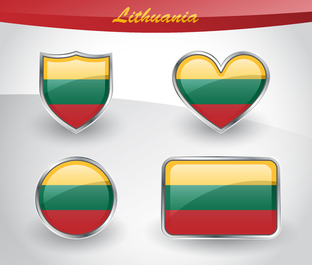 Glossy Lithuania flag icon set with shield, heart, circle and rectangle shapes in silver frame. Vector illustration.