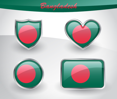 Glossy Bangladesh flag icon set with shield, heart, circle and rectangle shapes in silver frame. Vector illustration.