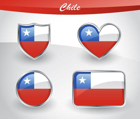 bandera chilena: Icono de la bandera de Chile brillante con escudo, corazón, círculo y formas de rectángulo en el marco de plata. Ilustración del vector.