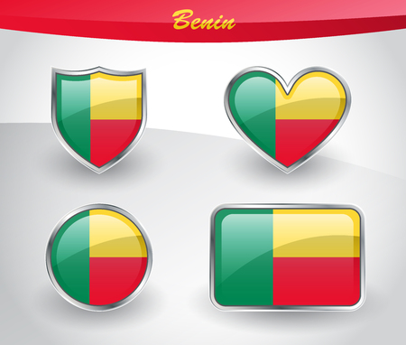 Glossy Benin flag icon set with shield, heart, circle and rectangle shapes in silver frame. Vector illustration.