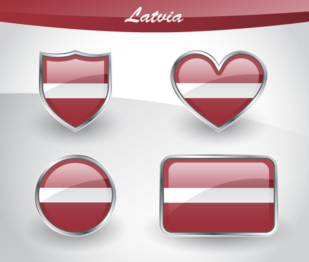 Glossy Latvia flag icon set with shield, heart, circle and rectangle shapes in silver frame. Vector illustration. Illustration