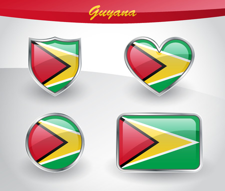 guyanese: Glossy Guyana flag icon set with shield, heart, circle and rectangle shapes in silver frame. Vector illustration. Illustration