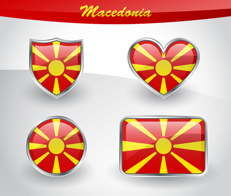 Glossy Macedonia flag icon set with shield, heart, circle and rectangle shapes in silver frame. Vector illustration.