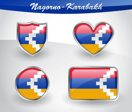 caucasus: Glossy Nagorno-Karabakh flag icon set with shield, heart, circle and rectangle shapes in silver frame. Vector illustration.
